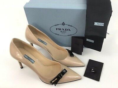 de6266481e PRADA LOGO BOW Nude Patent Leather Pointy Toe Pump 40.5/10.5 ...