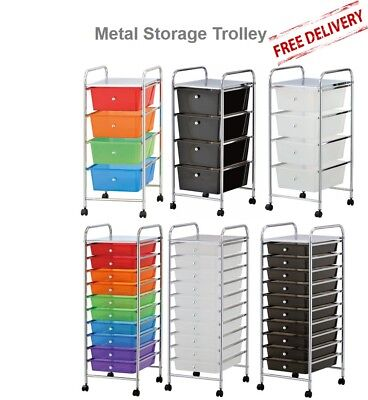 4 Drawer 10 Drawer Metal Trolley Office Stationery Salon Kids Storage