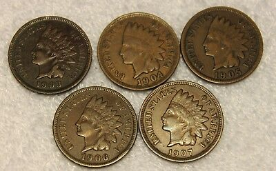 1903,1904,1905,1906,1907 indian head penny