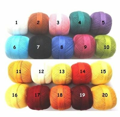 Choose 10-70 Colors-Cotton Yarn-Tatting Thread-Crochet Lace Knitting Embroidery