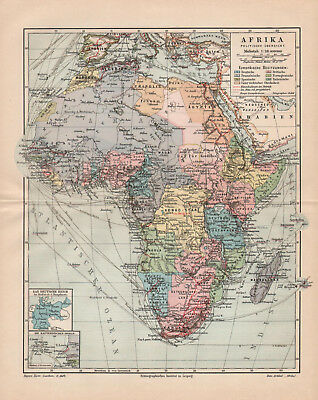 TWO!!! Antique maps. AFRICA. POLITICAL & PHYSICAL MAP OF AFRICA. 1905
