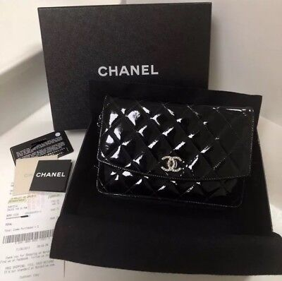 0a13597fb976 100% Authentic Chanel Black Patent Leather Woc Wallet On Chain Silver  Hardware