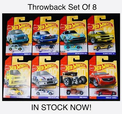 Hot Wheels Throwback Series 2019 Set Of 8, Bone Shaker,Honda,Mustang,Datsun 240z
