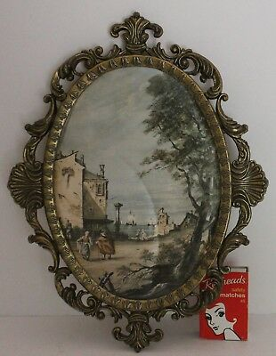 Vintage Silk Picture Oval Ornate Brass Frame Seaside Village Made Italy No Glass