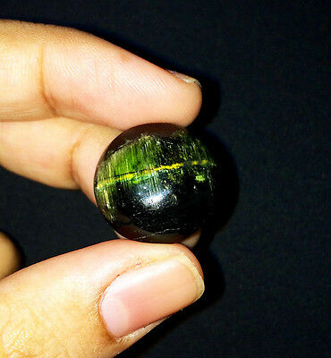 29.27cts Earth Mined Natural Green Tourmaline Cats Eye Giant Size Gemstone