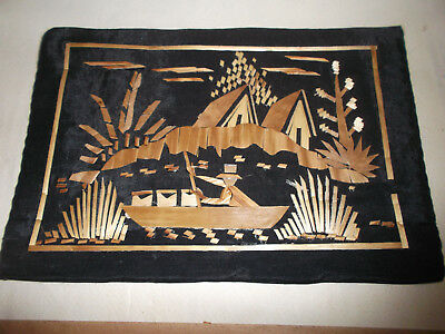 Vintage Small Inlaid Wood Marquetry Picture Italian River Scene