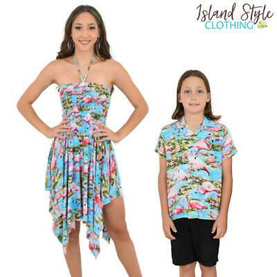 b557274eb2935 Turquoise Flamingo Pixie Dress   Boys Hawaiian Shirt Mother Son Set