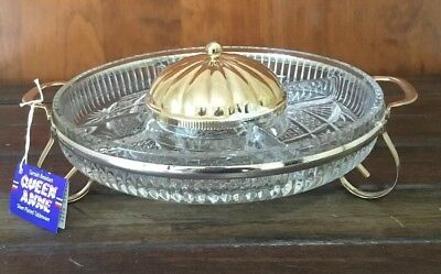 Silver Plated Queen Anne Buffet Dips Hors D'oeuvre Dish Like New With Tag & Box