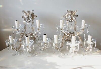 rare pair french vintage chic crystal 5 arm wall lights glass arms chandeliers