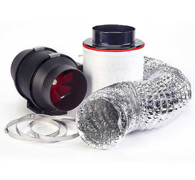 """5"""" In Line Fan Carbon Filter Duct Kit Hydroponic Grow Room Tent Ventilation Plug"""