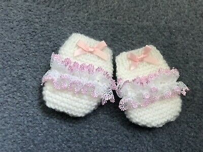 New - Handknitted - Newborn Mittens - White With Pink Lace