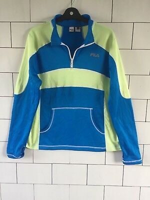 Mens Bold Urban Vintage Retro 1/4 Zip Fila Sport Athletic Fitness Polyester Top