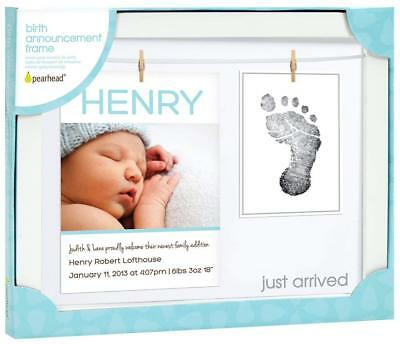 Pearhead Birth Announcement Keepsake Frame with Clean Touch Ink Pad White