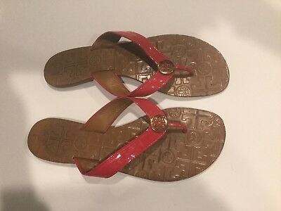 35a4a5b0505e78 Tory Burch Thora Sandals 11M Pink Patent Leather Flip Flops Flats Casual