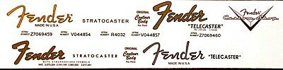 4 Fender Stratocaster decal and Telecaster decal s + 1 custom shop!