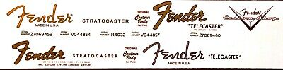 4-decal set; 2 Fender Strat decals + 2 Fender Tele decals!  + 1 custom shop!
