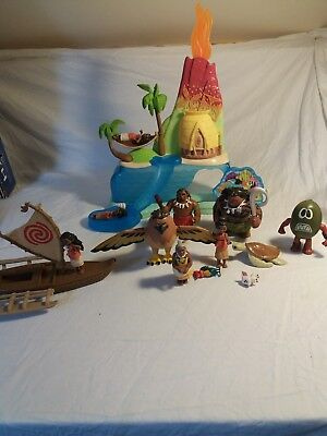Disney MOANA Action Figure Toy Bundle  RARE  Maui Hawk Boat Island Playset