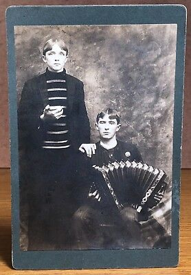 Antique Cabinet Card Photograph Young Men Accordion Harmonica Musical Instrument
