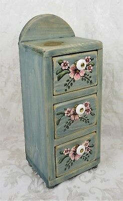 Small Primitive Floral Hand Painted Folk Art Cabinet Shelf Shabby Chic Drawers