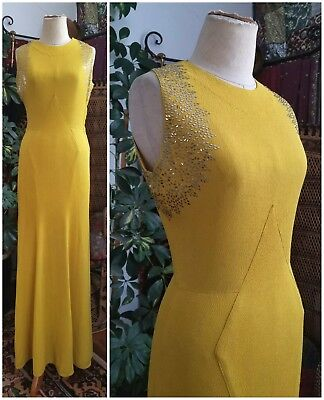 Stunning 1930's Art Deco Yellow Crepe Vintage Evening Gown Dress 30s Antique