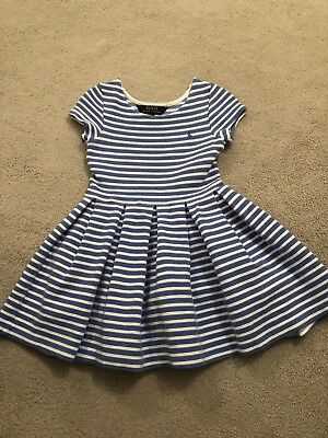 White And Baby Blue Striped Girls Dress Age 4 Ralph Lauren