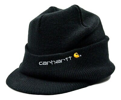 CARHARTT MENS KNIT Hat With Visor Black One Size Knit Beanie With ... bf8b6c4c9f1