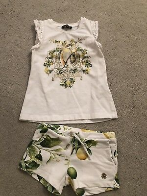 Roberto Cavalli White & Lemons Top And Shorts Set Girls Age 4