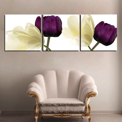 Framed Purple Yellow Flowers 3 Panel Wall Art Canvas Print Picture Home Decor