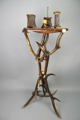 rare antique deer antler furniture, smoking table , german 1900´s , black forest