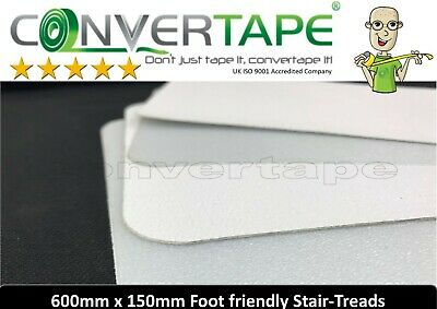 FOOT FRIENDLY Self Adhesive Anti-slip Stair treads 150mm x 600m CLEAR WHITE 3pck