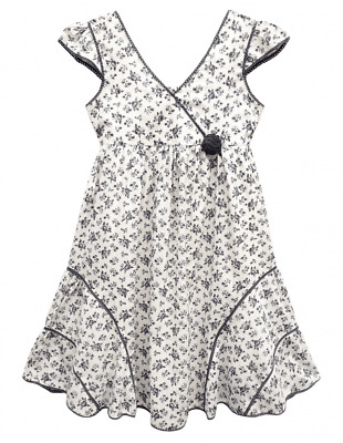 Girls Baby Kids Cotton Scallop Lace Detail Floral Rose Dress Sundress 3-11 Years