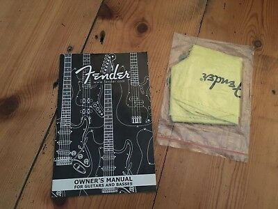 Fender Guitar & Bass Owners Manual + Polishing Cloth Case Candy Circa 2002 USA