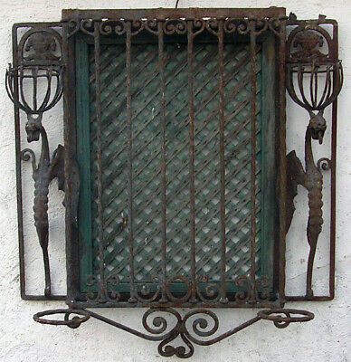 Antique Garden Wrought Iron Patio Andaluz Grille Dragons. Torch Flowerpot Stand