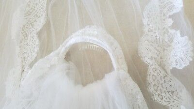 Vintage White Lace Crown Bridal Veil Tulle Long Cathedral Two Tier Sequin