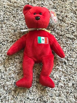 1999 Ty Beanie Baby Bear Red Osito Mexico With Tag With Errors