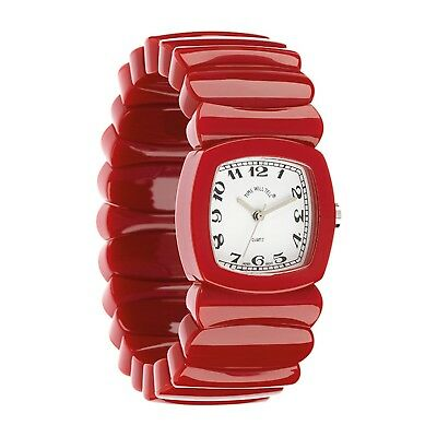 Women's Wrist Watch - Retro Vintage Look Acrylic Stretch Band, Red - Large