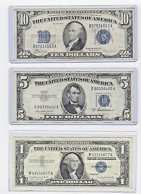 1934C $10, 1953A $5 & 1957A $1 Silver Certificate lot of one each in new holders
