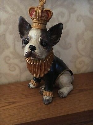 Gisela Graham Brown & White Resin French Bulldog with Crown Ornament 24cm