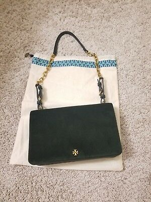 3979330835c AUTHENTIC TORY BURCH Sadie Velvet Shoulder Bag in green   With ...