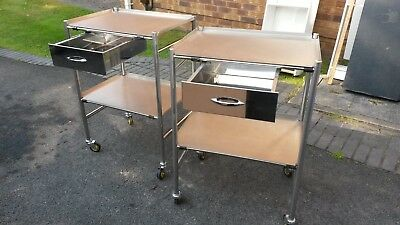 2 x Medical Grade Stainless Steel Storage Trolleys