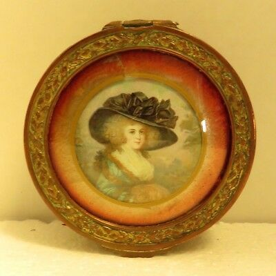 Antique French Ornate Jewel Box Frame Gilded w/ Enamel Hand Painted Portrait.