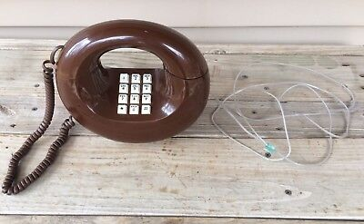 Vintage Western Electric Brown Circle Donut Telephone Collectible Phone WORKS!