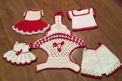 5 Pieces VTG Hand Crocheted-RED & WHITE KITCHEN COLLECTION-USED PRE OWNED