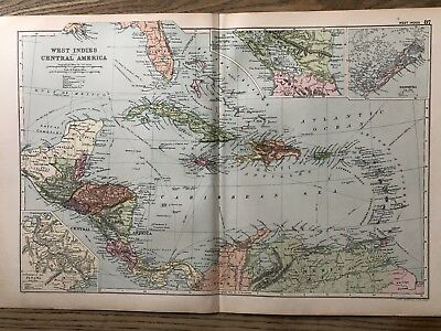 1908 West Indies & Central America Antique Map By G.w. Bacon 110 Years Old