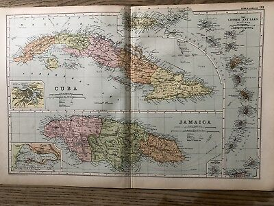 1908 West Indies Islands Cuba Jamaica Antique Map By G.w. Bacon 110 Years Old