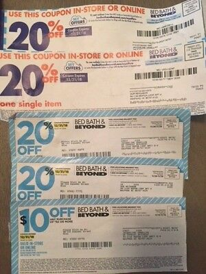 Bed Bath Beyond Coupons - Lot of 5 (4) 20% Off & (1) $10 Off $30
