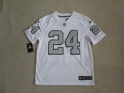 Nike Authentic RAIDERS  24 LYNCH Stitch COLOR RUSH White Jersey Men L NEW  Nice  d6967cee5