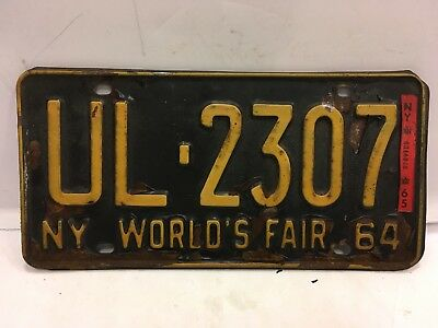 1964 New York World's Fair License Plate With Red '65 Tag