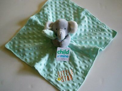 NWT Carters Child Of Mine Little Star Mint Green Elephant Baby Security Blanket