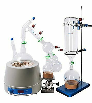 Short Path Distillation Set with Cold Trap Heating Stirring Mantle, 2000 ml